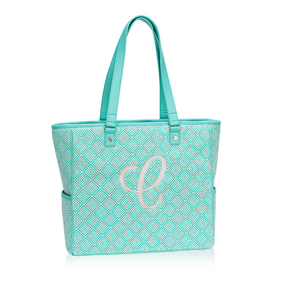 Cindy Tote - Turquoise Graphic Weave