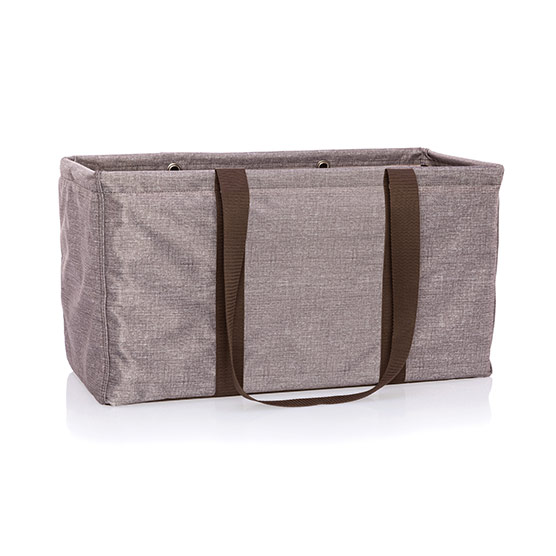 Large Utility Tote - Mocha Crosshatch