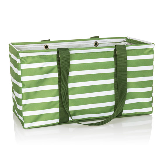 Large Utility Tote - Green Cabana Stripe