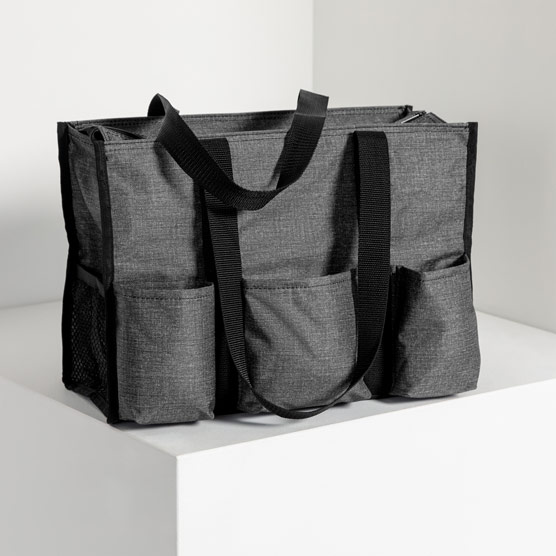 Zip-Top Organizing Utility Tote - Charcoal Crosshatch