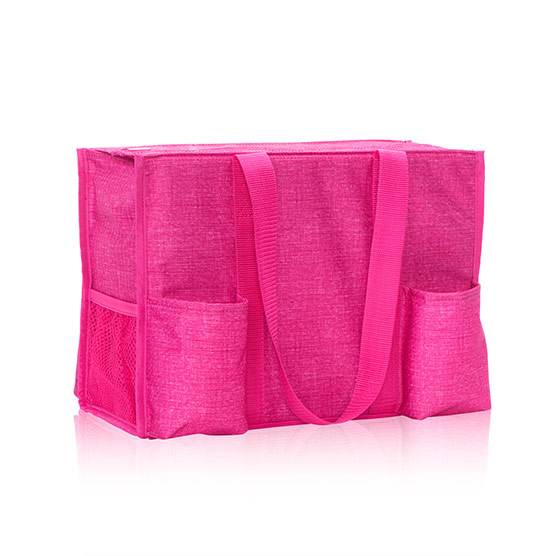Zip-Top Organizing Utility Tote - Pink Crosshatch