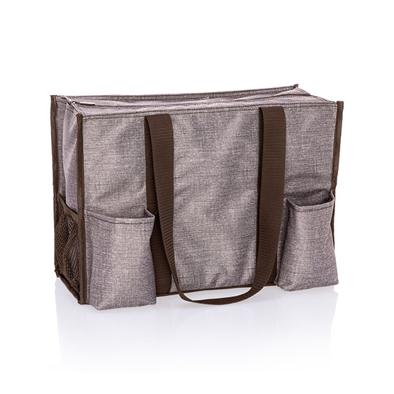Zip-Top Organizing Utility Tote - Mocha Crosshatch