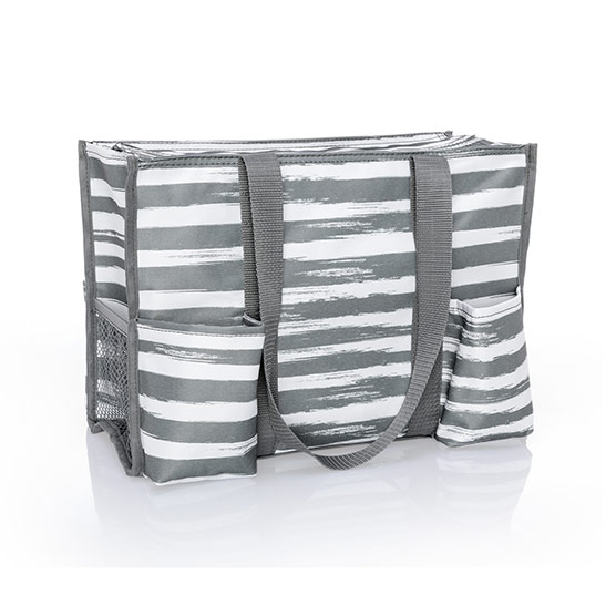 Zip-Top Organizing Utility Tote - Grey Brush Strokes