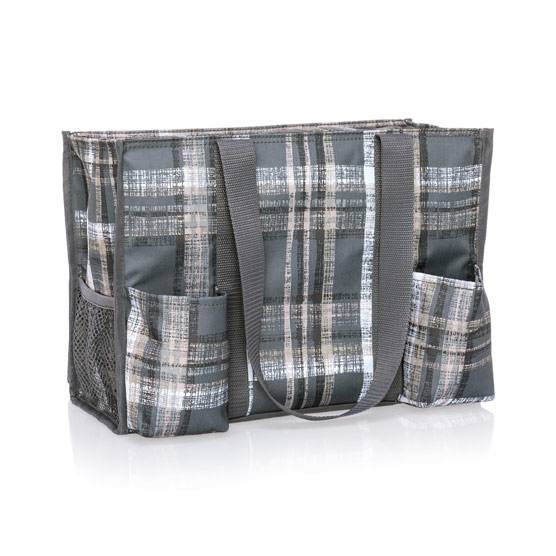 Zip-Top Organizing Utility Tote - Cozy Plaid