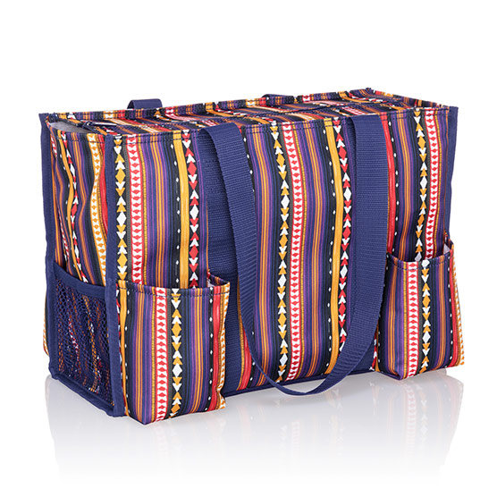 Zip-Top Organizing Utility Tote - Purple Southwest Stripe