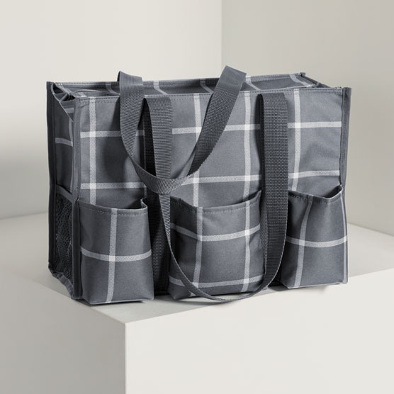 Zip-Top Organizing Utility Tote - Windowpane Plaid