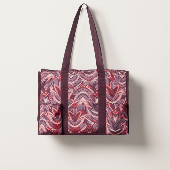 Zip-Top Organizing Utility Tote - Floral Ikat