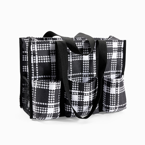 Zip-Top Organizing Utility Tote - Houndstooth Plaid
