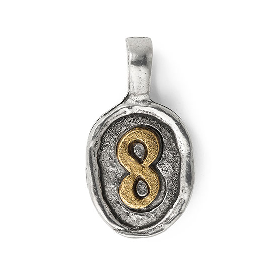 Wax Seal Charm - Two Tone Number 8