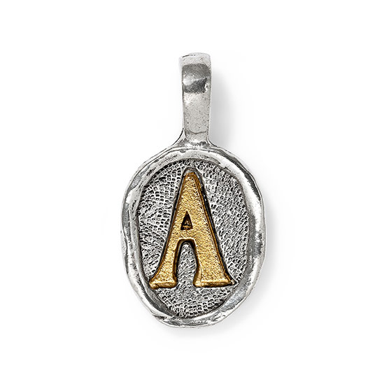 Wax Seal Charm - Two Tone Initial A