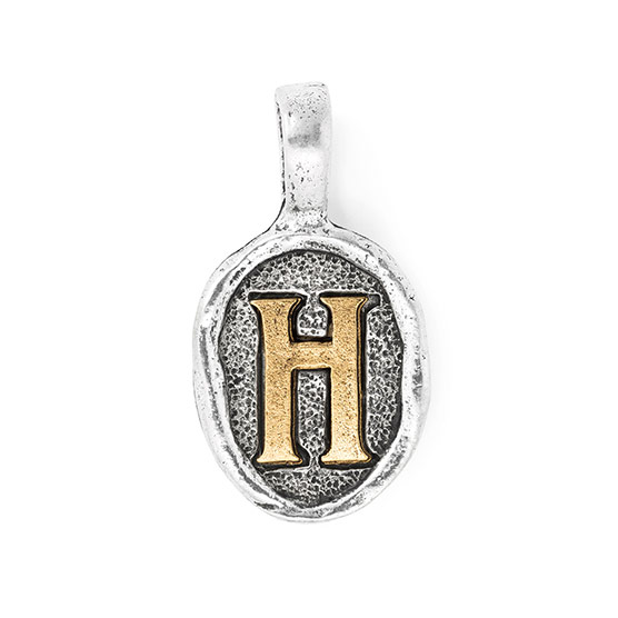 Wax Seal Charm - Two Tone Initial H