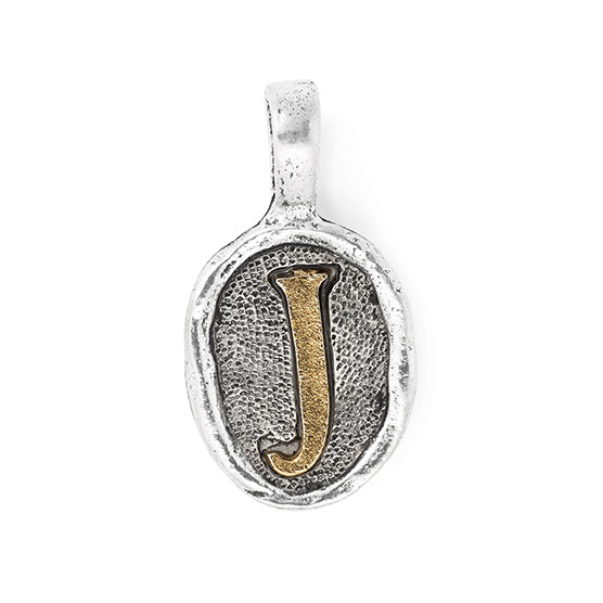 Wax Seal Charm - Two Tone Initial J