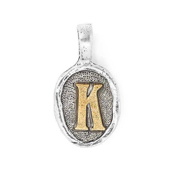 Wax Seal Charm - Two Tone Initial K