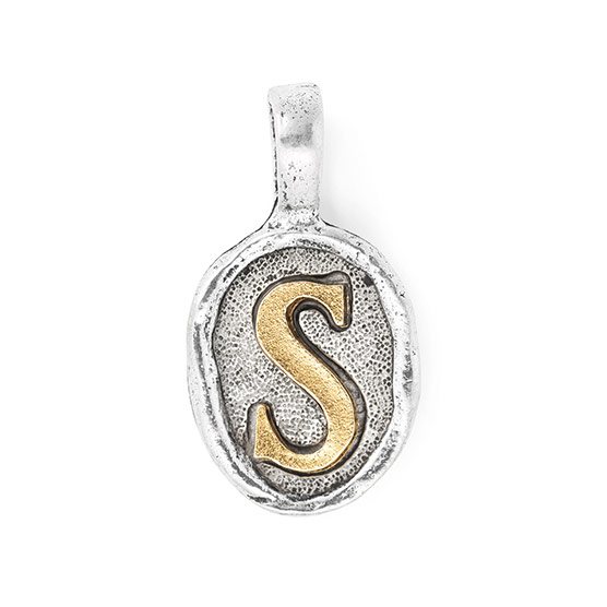Wax Seal Charm - Two Tone Initial S