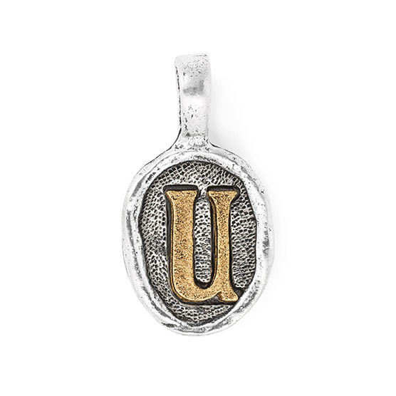 Wax Seal Charm - Two Tone Initial U