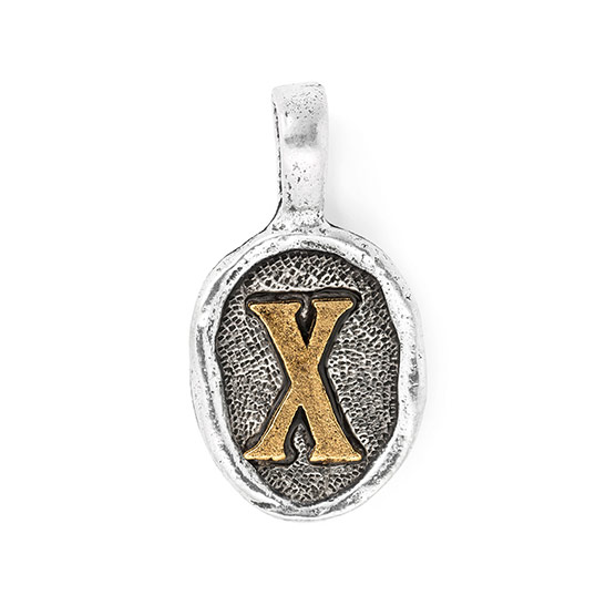 Wax Seal Charm - Two Tone Initial X
