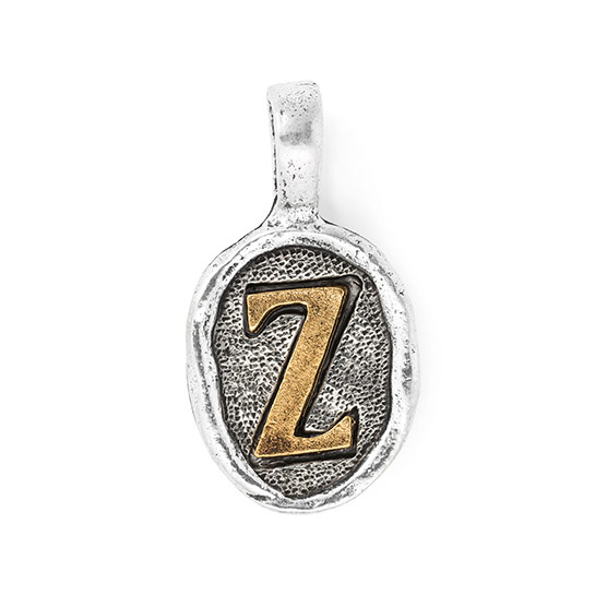 Wax Seal Charm - Two Tone Initial Z