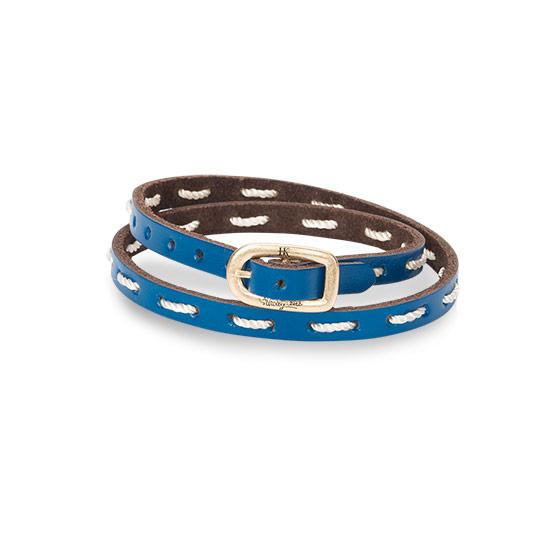 Leather Stitch Bracelet - Daring Cobalt