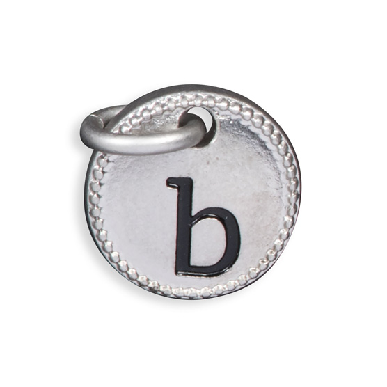Round Initial Charm - Silver Tone Initial B