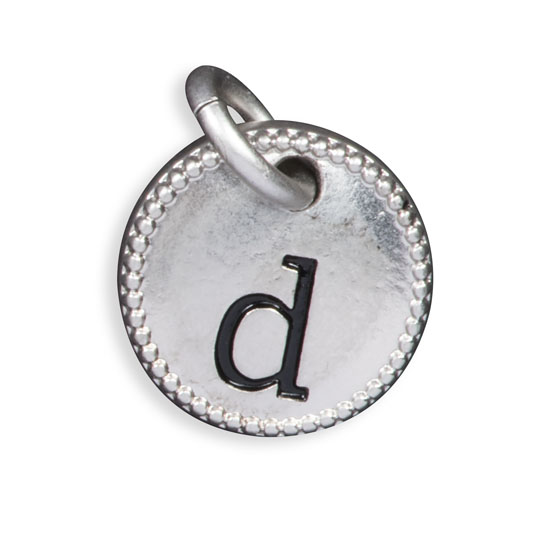 Round Initial Charm - Silver Tone Initial D