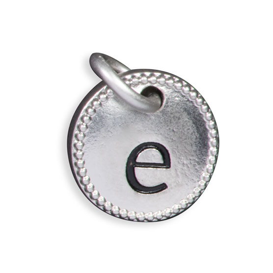 Round Initial Charm - Silver Tone Initial E