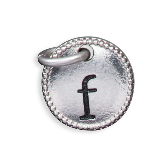 Round Initial Charm - Silver Tone Initial F