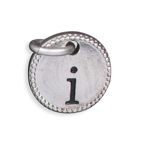 Round Initial Charm - Silver Tone Initial I