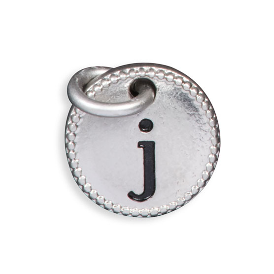 Round Initial Charm - Silver Tone Initial J