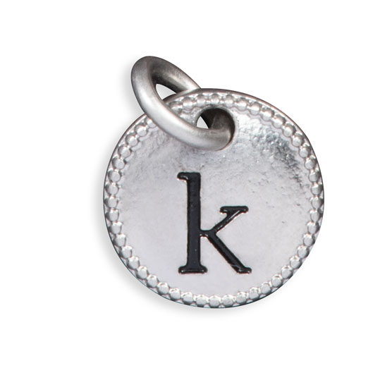 Round Initial Charm - Silver Tone Initial K