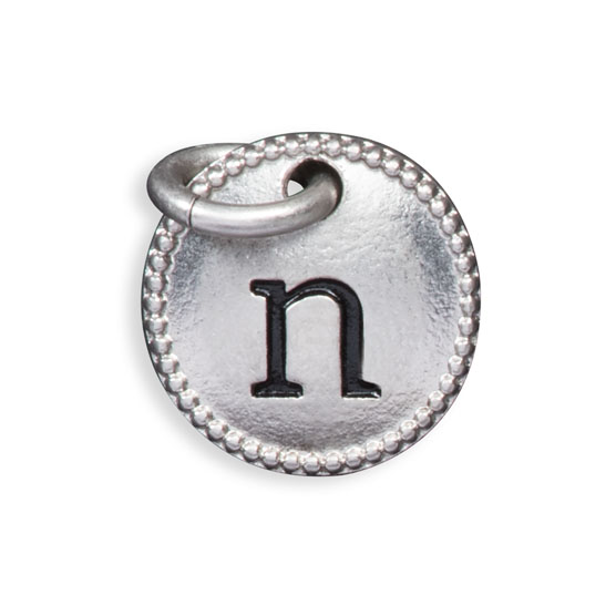 Round Initial Charm - Silver Tone Initial N