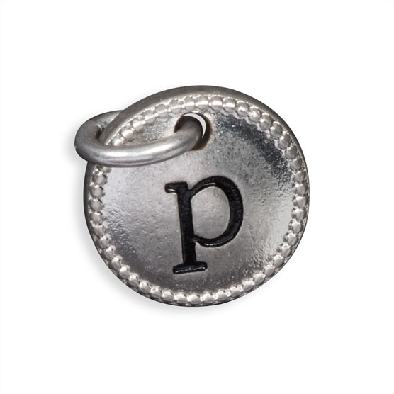 Round Initial Charm - Silver Tone Initial P