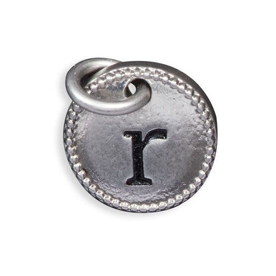 Round Initial Charm - Silver Tone Initial R
