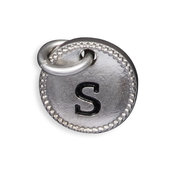 Round Initial Charm - Silver Tone Initial S