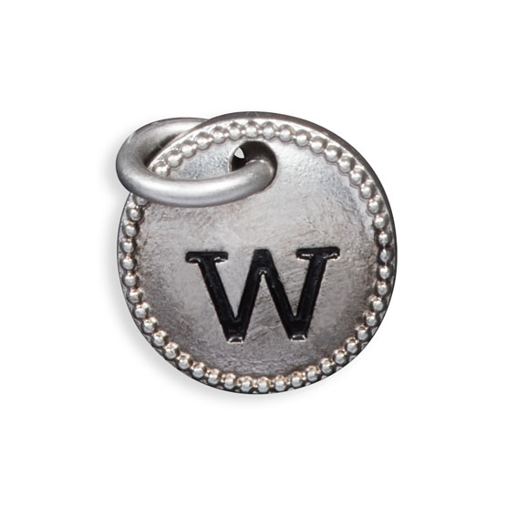 Round Initial Charm - Silver Tone Initial W