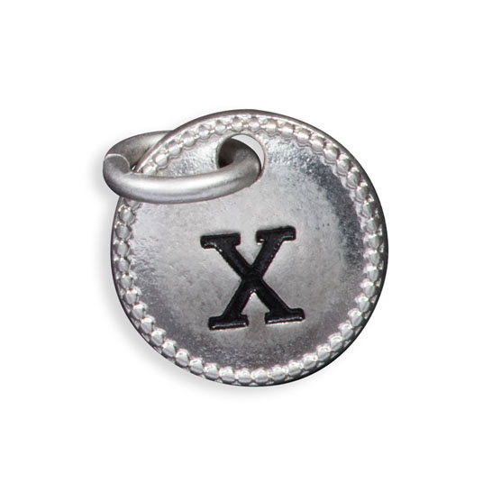 Round Initial Charm - Silver Tone Initial X