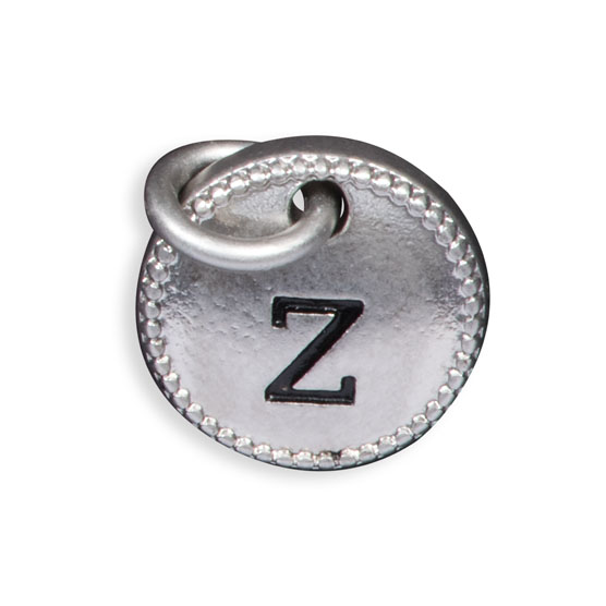 Round Initial Charm - Silver Tone Initial Z