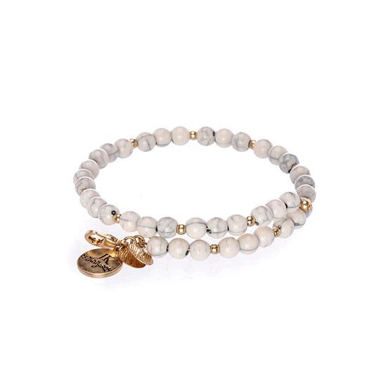 Beaded Charm Bracelet - Marbled White