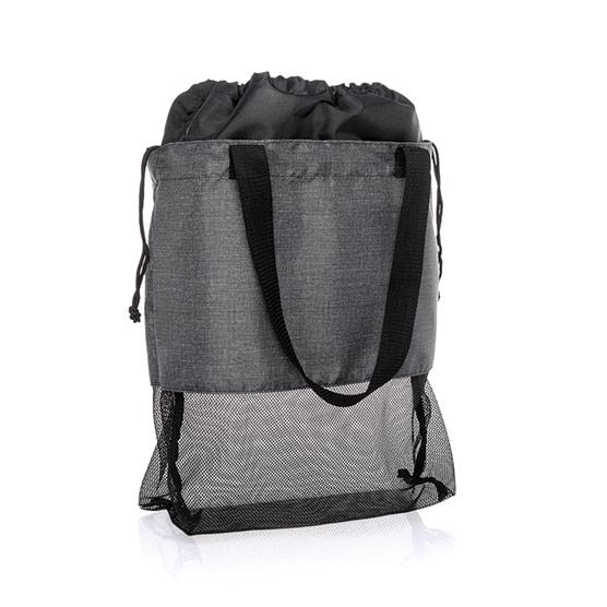 Mesh Mix Cinch Bag - Charcoal Crosshatch