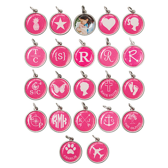 Just Write Charm Large Circle - Silver Tone