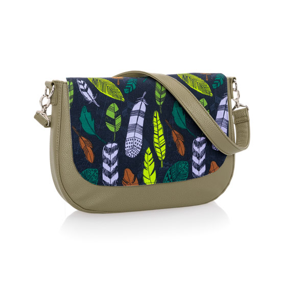 Studio Thirty-One Classic - Ooh-la-la Olive Pebble w/ Falling Feathers