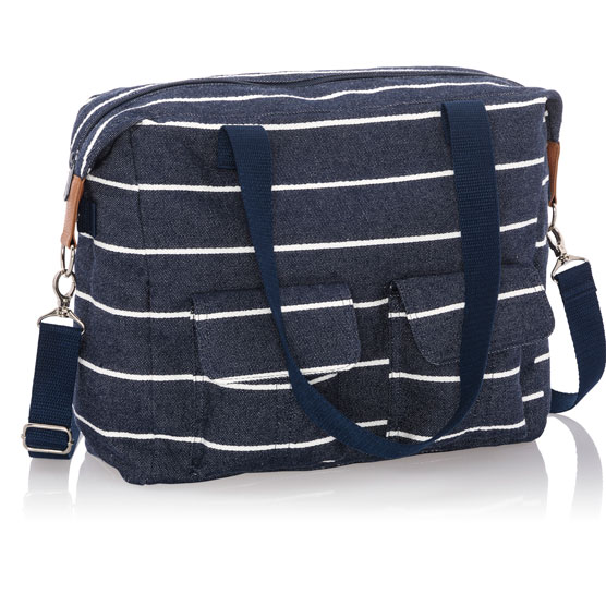 Casual Cargo Bag - Navy Wide Stripe