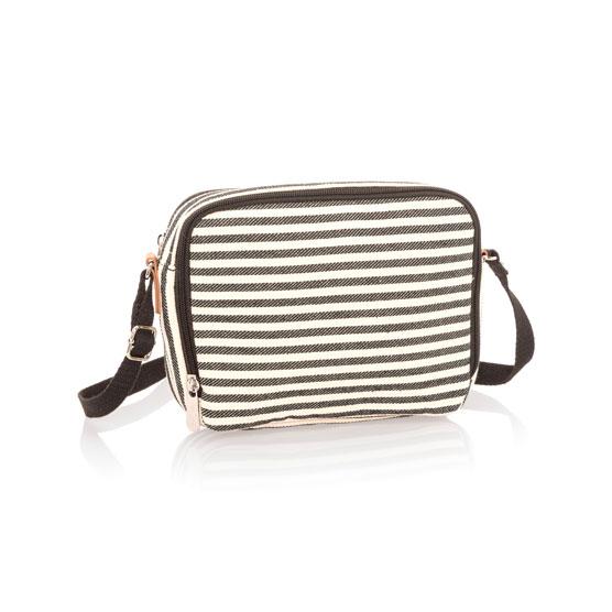 Double Zip Crossbody - Twill Stripe