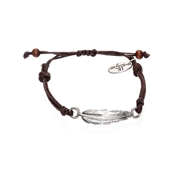 Feather Cord Bracelet - Silver Tone