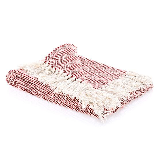 Fringe Throw Blanket - Red Chevron