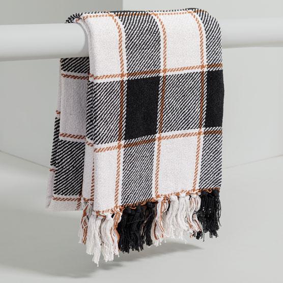 Fringe Throw Blanket - Black Plaid