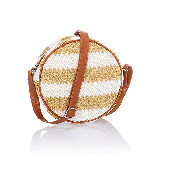 Roundabout Crossbody - White Striped Straw
