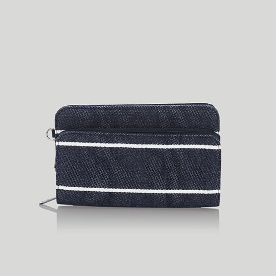 Perfect Cents Wallet - Navy Wide Stripe