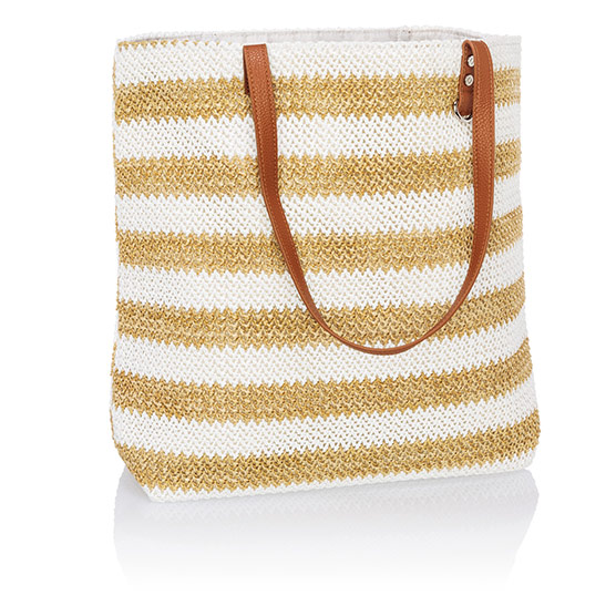 Around Town Tote - White Striped Straw