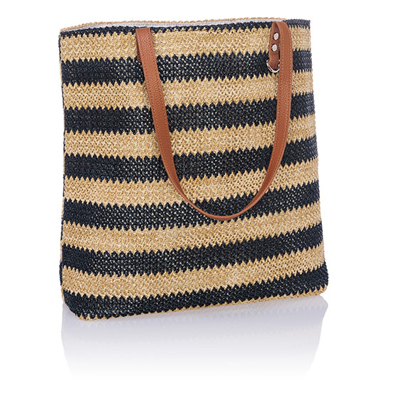 Around Town Tote - Navy Striped Straw
