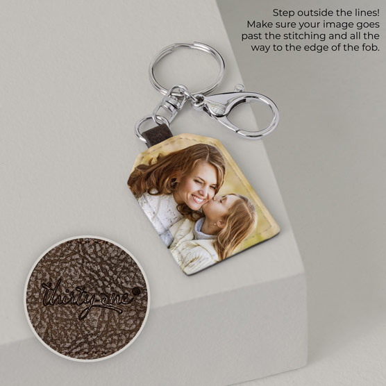 Photo Key Fob - Chestnut Distressed Tag